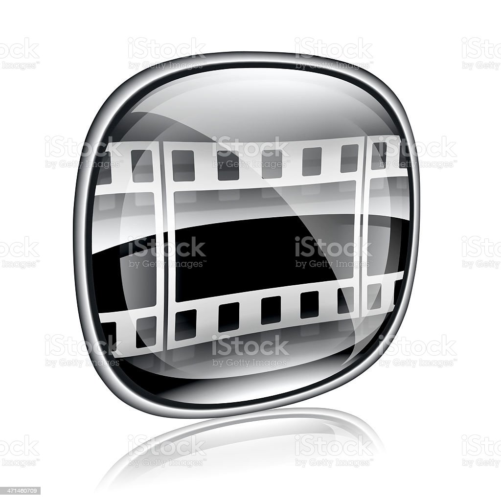 Film icon black glass, isolated on white background. royalty-free stock vector art