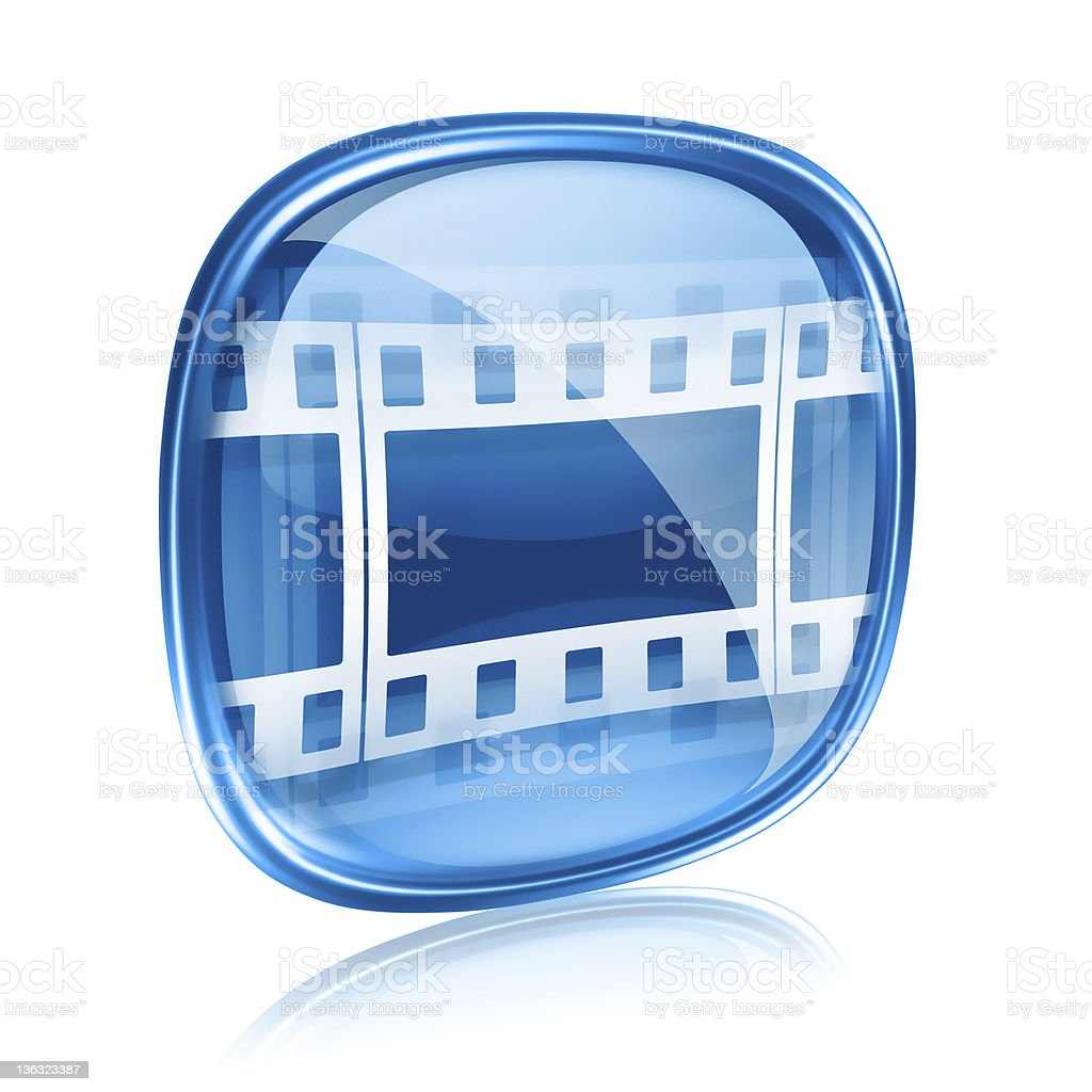 Film icon blue glass, isolated on white background. royalty-free stock vector art