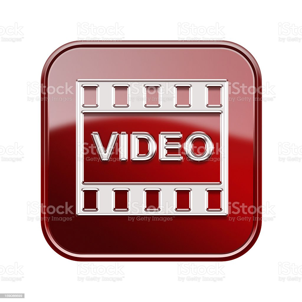 Film icon glossy red, isolated on white background royalty-free stock vector art