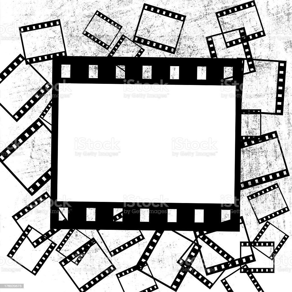 film pieces on grunge background vector art illustration
