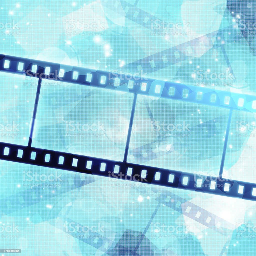 film strip on glowing blue background vector art illustration