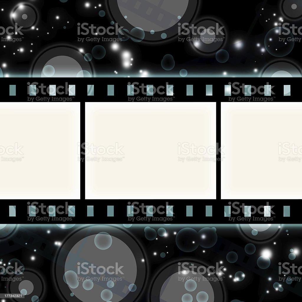 film strip on glowing dark background vector art illustration