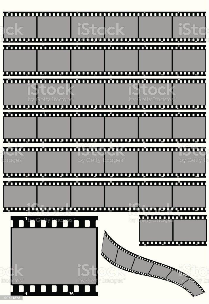 B&W Film Strips vector art illustration