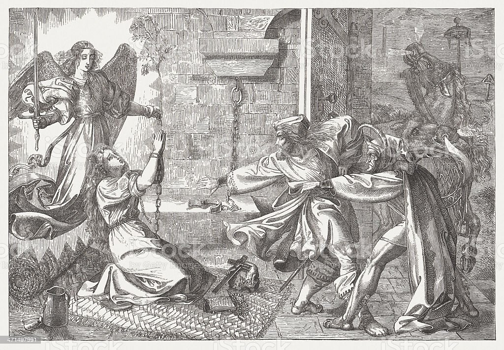 Final scene from Goethe's 'Faust', wood engraving, published in 1882 royalty-free stock vector art