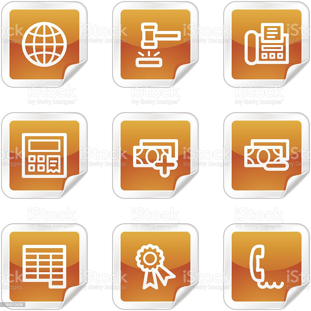 Finance 2 web icons, orange glossy sticker series royalty-free stock vector art