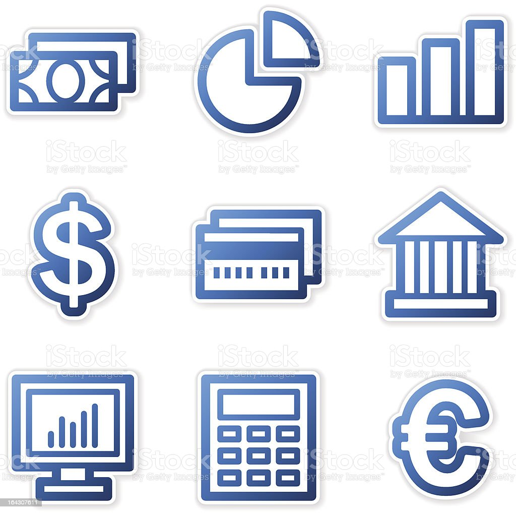 Finance icons, blue contour series royalty-free stock vector art