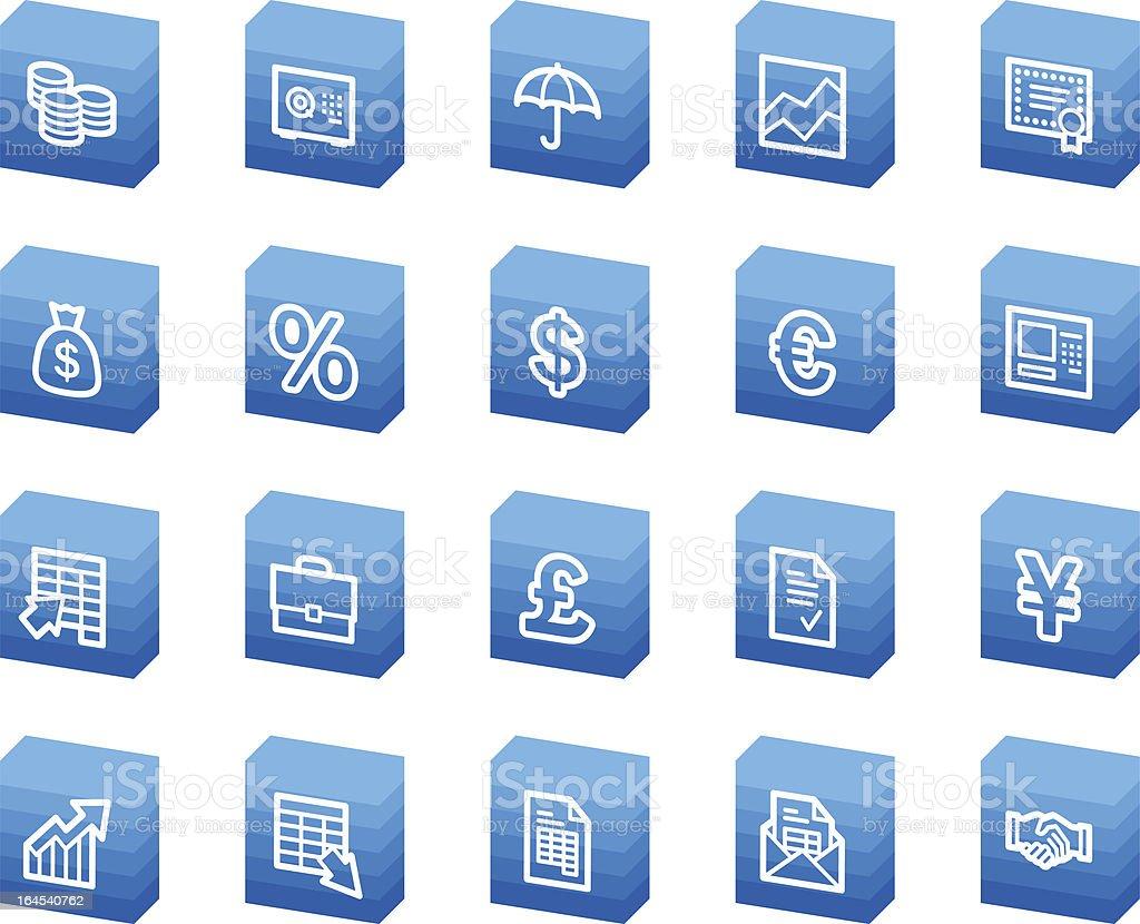 Finance web icons, blue box series royalty-free stock vector art