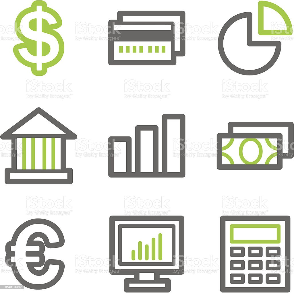 Finance web icons, green gray contour series royalty-free stock vector art