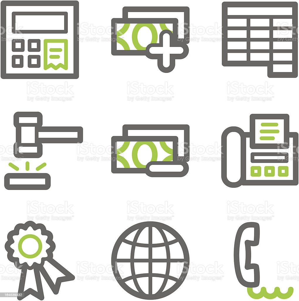 Finance web icons, green  gray contour set 2 royalty-free stock vector art