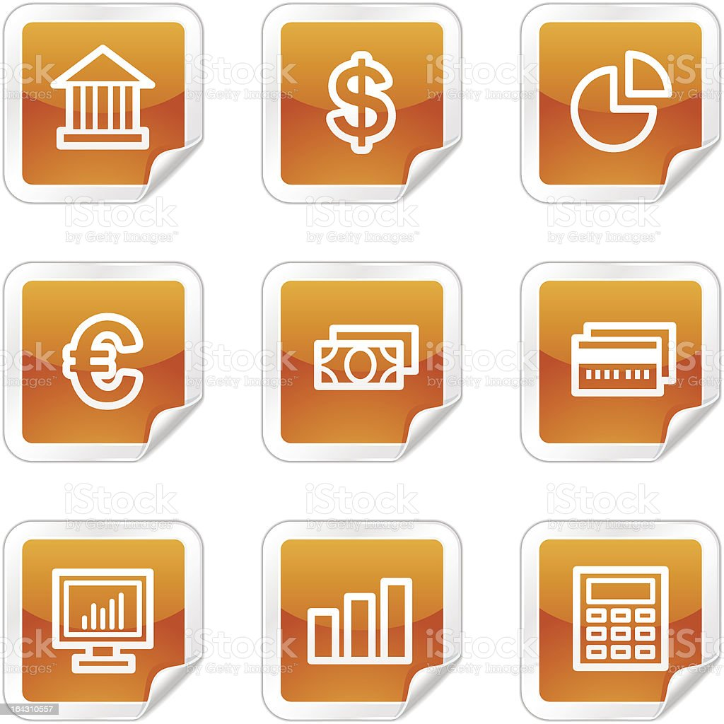 Finance web icons, orange glossy sticker series royalty-free stock vector art