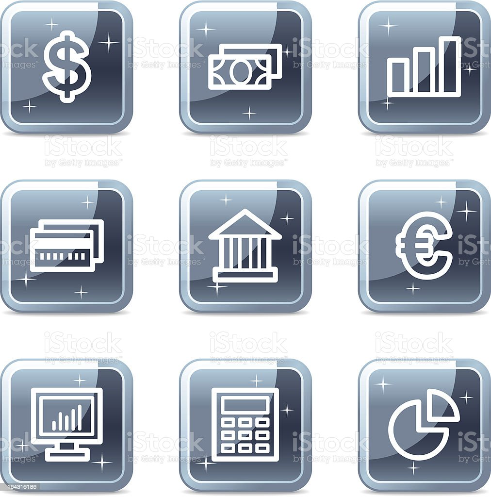 Finance web icons, square blue mineral buttons series royalty-free stock vector art