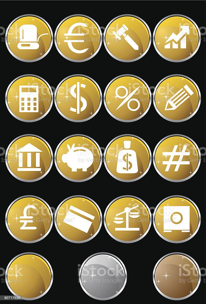 Financial Buttons: Metallic Sparkle Set royalty-free stock vector art