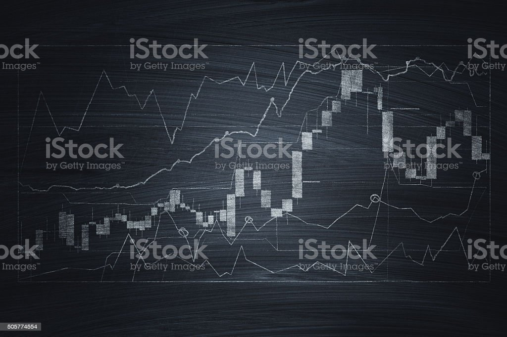 Financial chart on blackboard stock photo