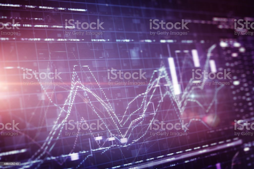 Financial chart on LCD display vector art illustration