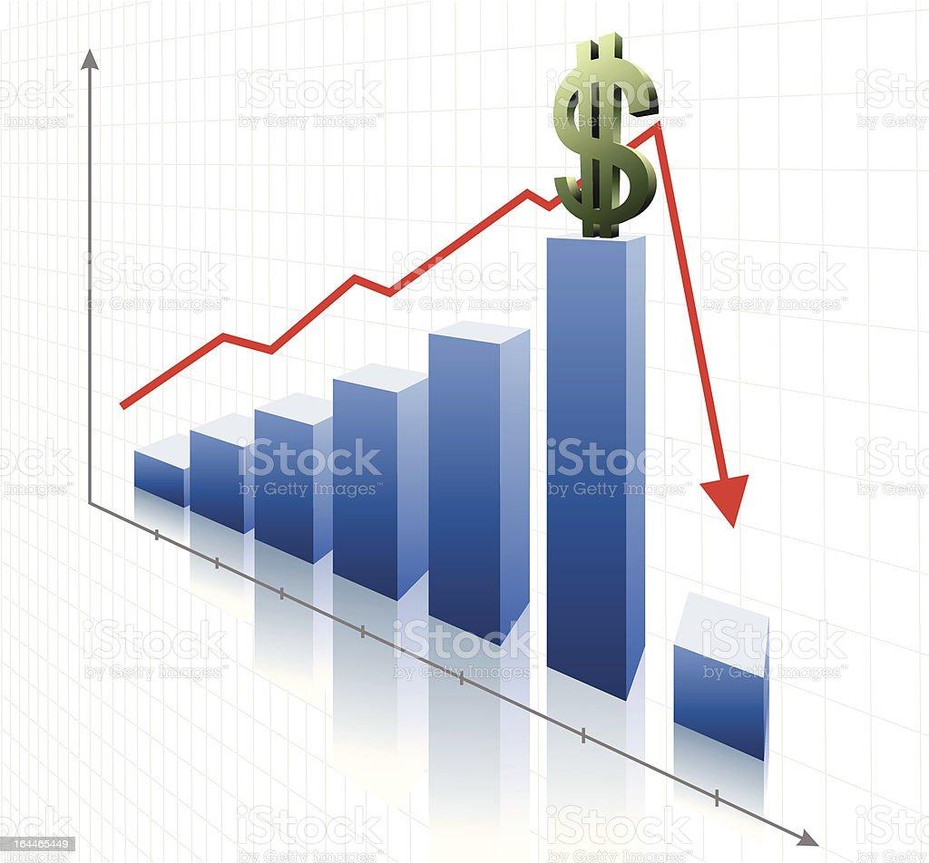 Financial Dollar Crisis vector art illustration