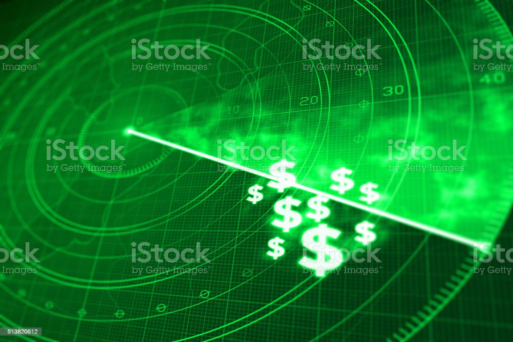 Finding money with radar, successful investment strategy vector art illustration
