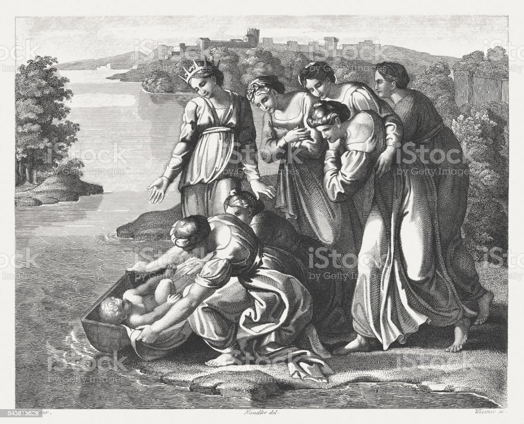 Finding of Moses (Exodus 2), steel engraving, published in 1841 vector art illustration