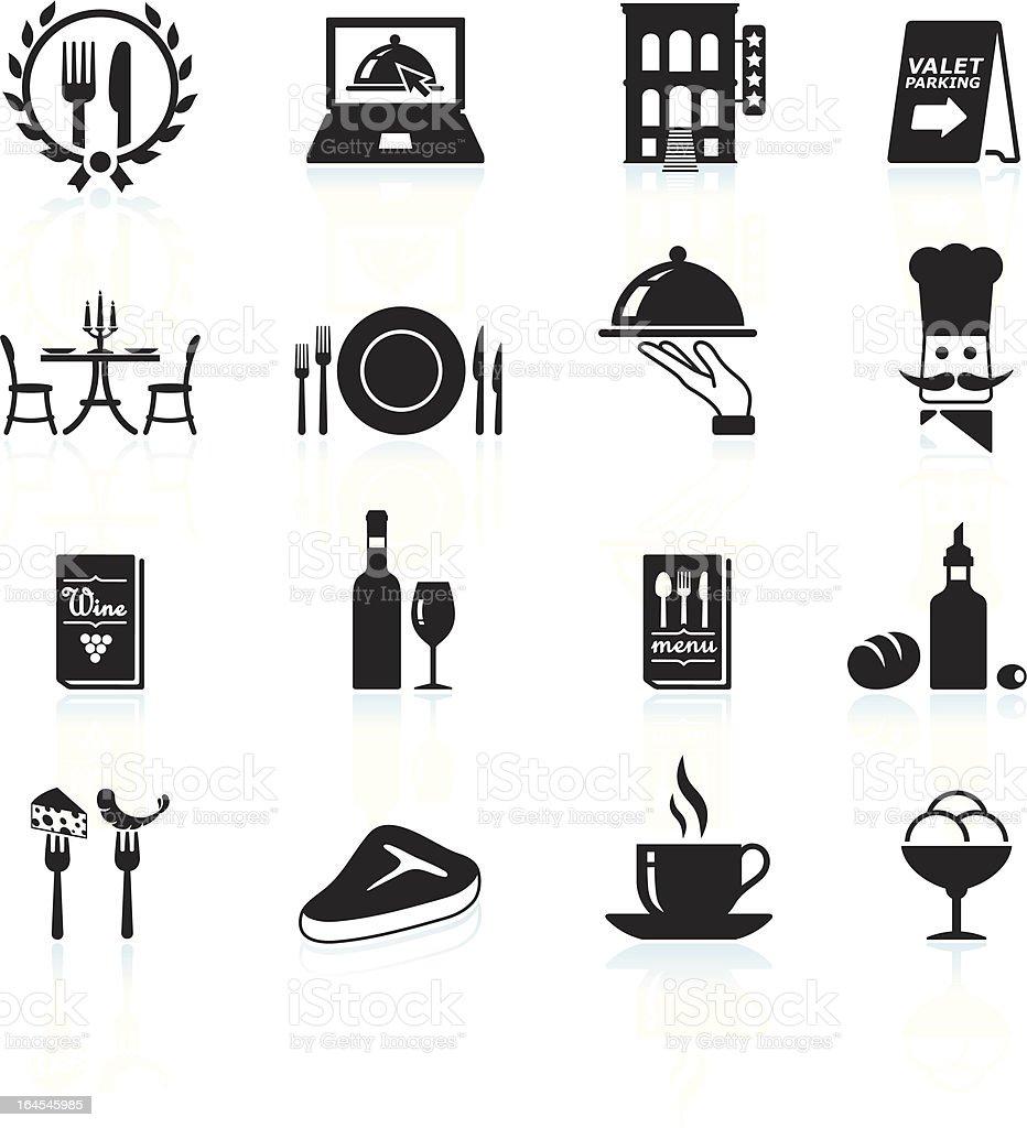 Fine restaurant dining and dinner reservations black & white set vector art illustration