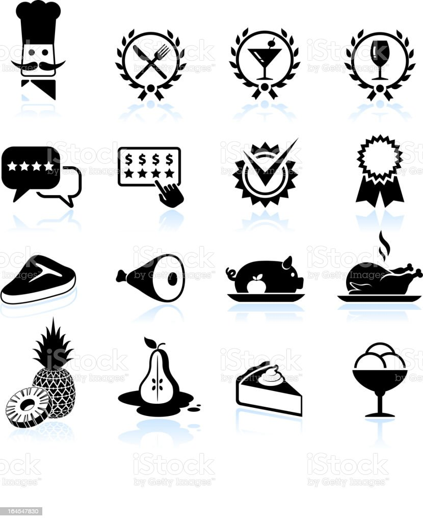 Fine restaurant dining food ratings black & white set vector art illustration