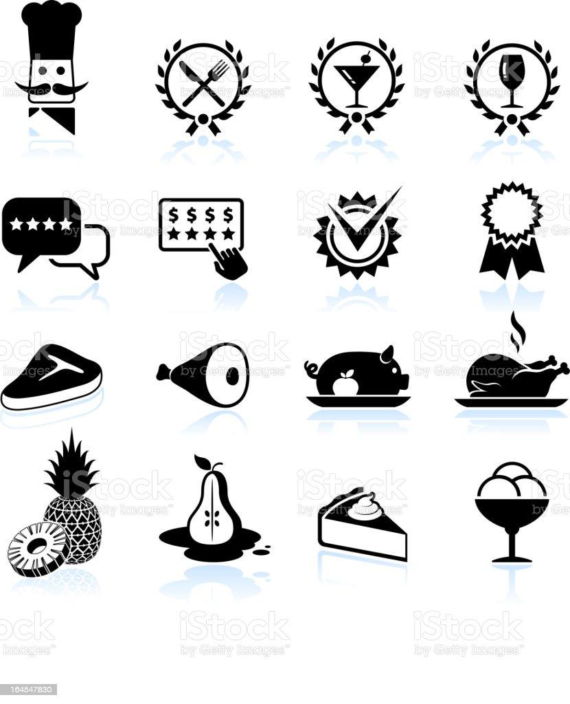 Fine restaurant dining food ratings black & white icon set vector art illustration