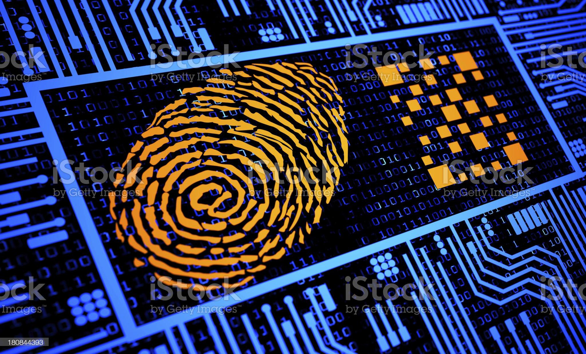 Fingerprint and QR Code in Orange in blue digital background royalty-free stock vector art