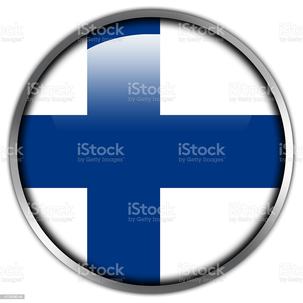 Finland Flag glossy button royalty-free stock vector art