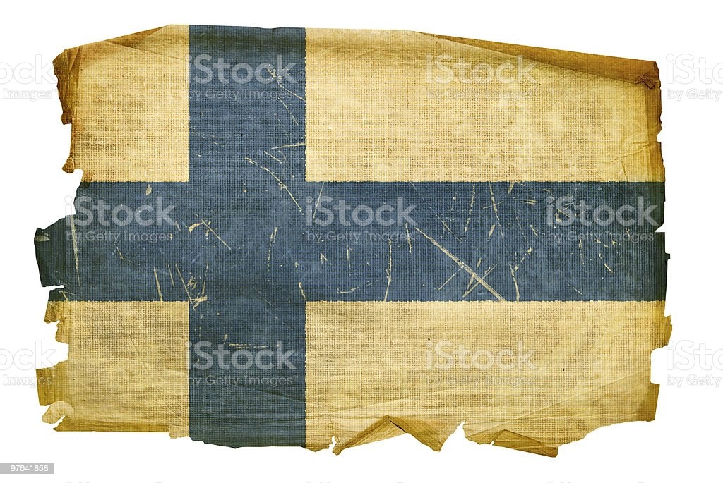 Finland Flag old, isolated on white background. royalty-free stock vector art