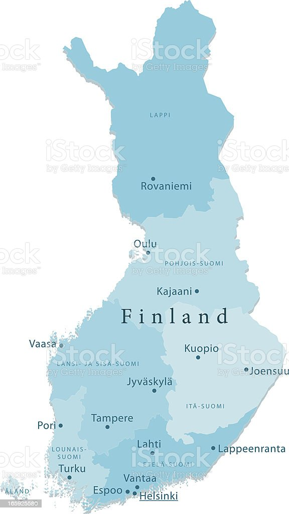 Finland Vector Map Regions Isolated royalty-free stock vector art