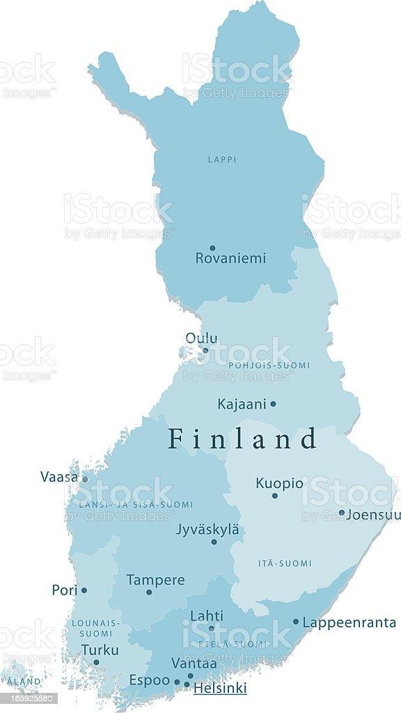 Finland Vector Map Regions Isolated vector art illustration