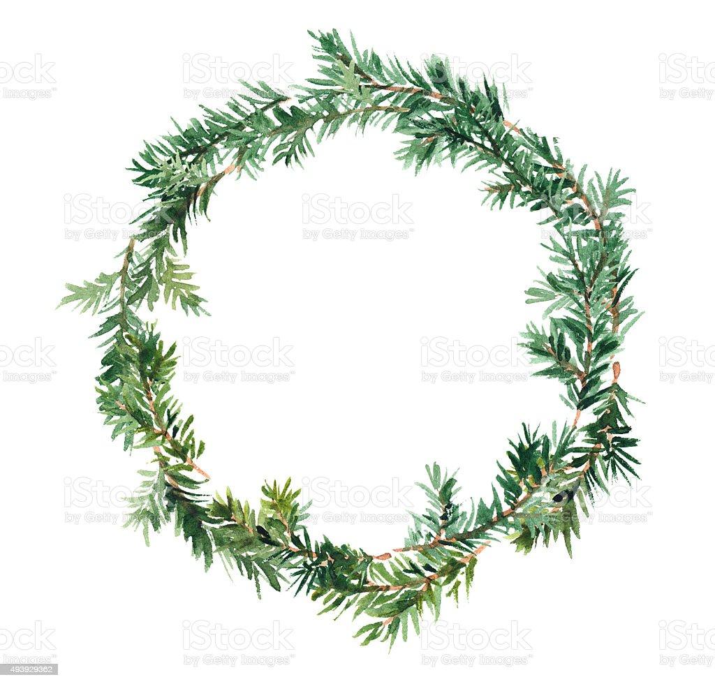 Fir wreath. Watercolor vector art illustration