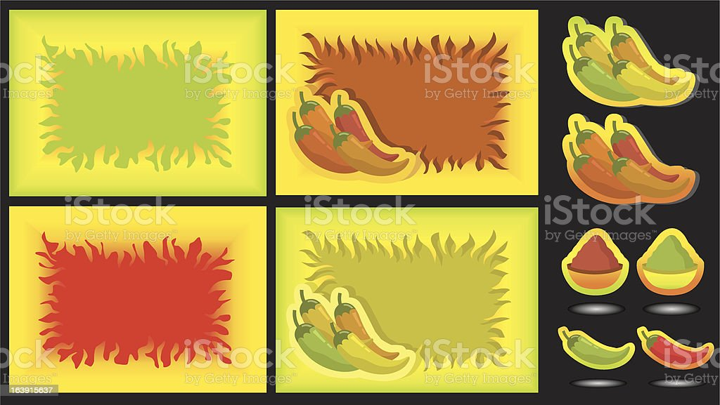 Fire- and Spicy-Foodbackgrounds. royalty-free stock vector art