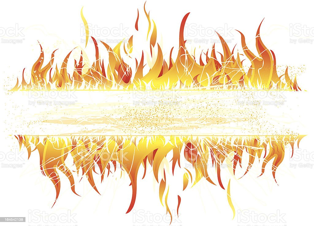 Fire banner vector art illustration