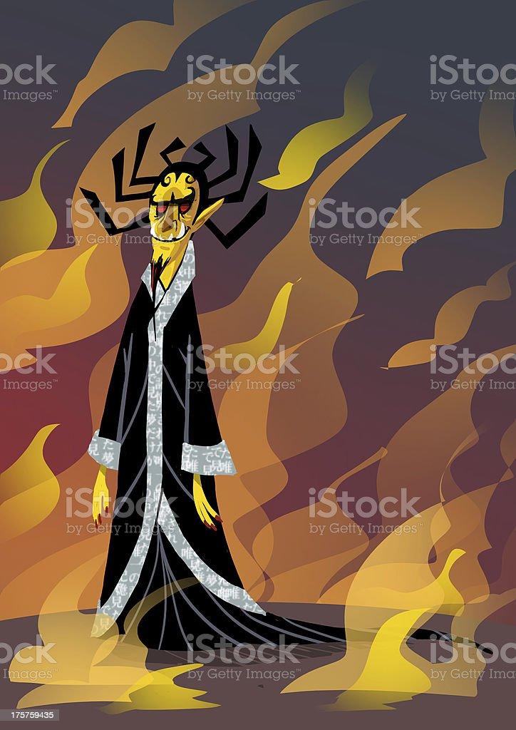 Fire Demon vector art illustration