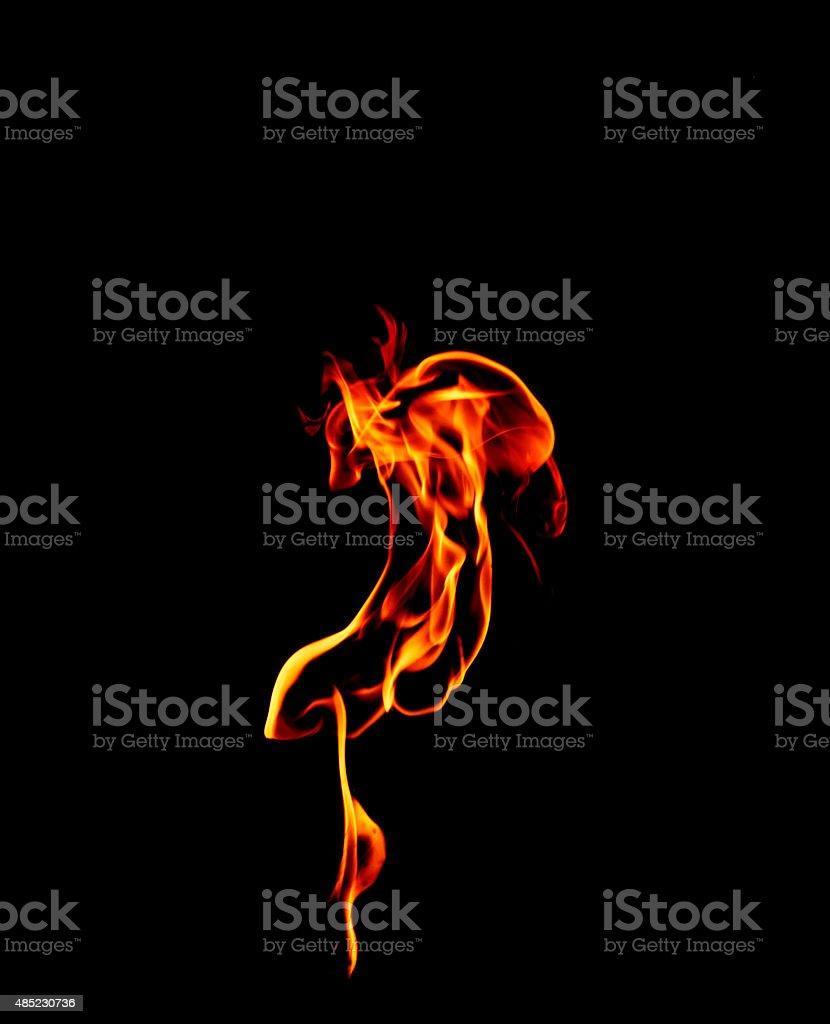 Ogień płomienie na czarnym tle. stockowa ilustracja wektorowa royalty-free