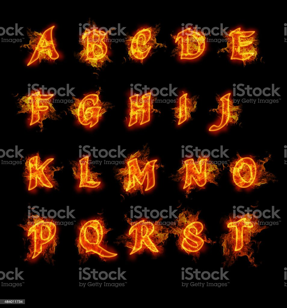 Fire font collection vector art illustration