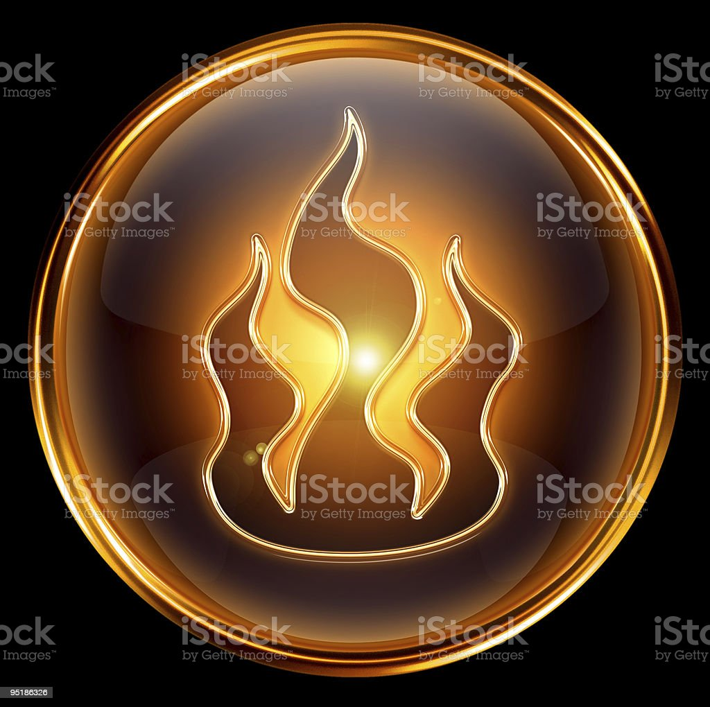 fire icon gold isolated on black background royalty-free stock vector art