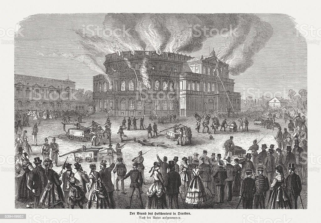 Fire of the Semper Opera House in Dresden (1869) vector art illustration