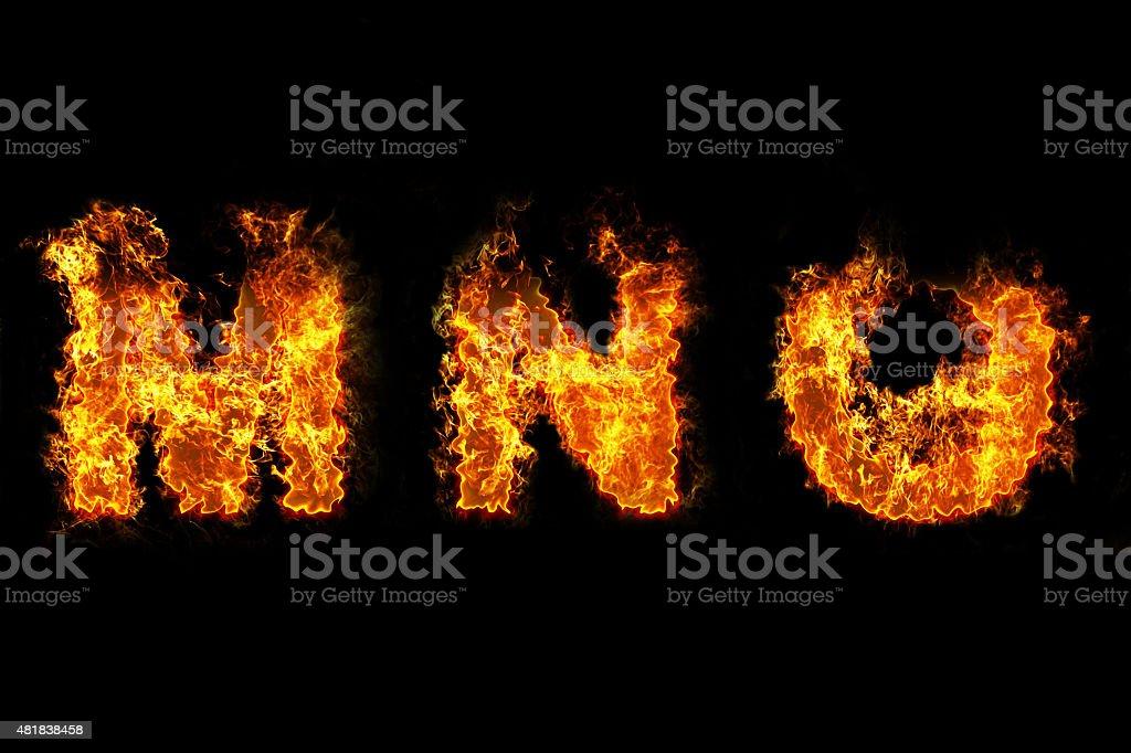 Fire on letter MNO vector art illustration