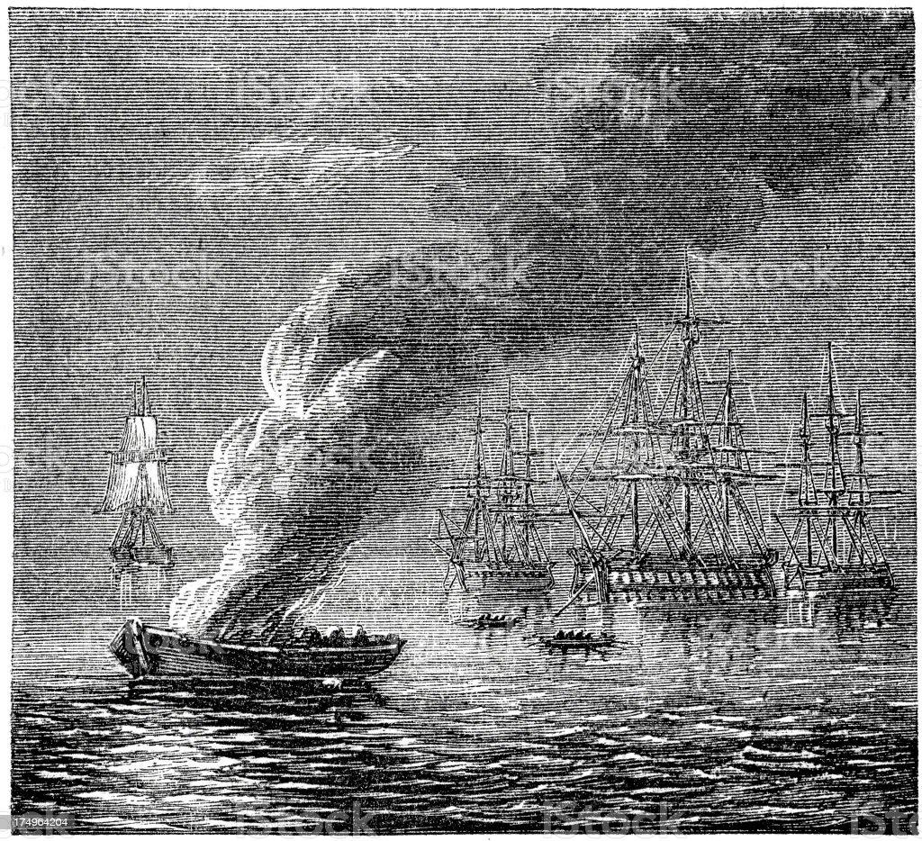 Fire Ship royalty-free stock vector art