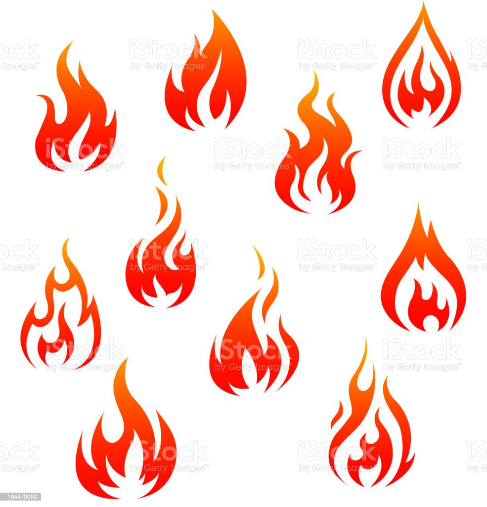 Fire symbols vector art illustration