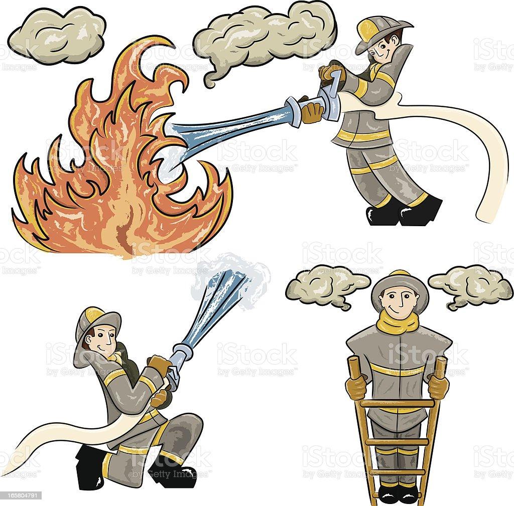 Firefighter Characters vector art illustration