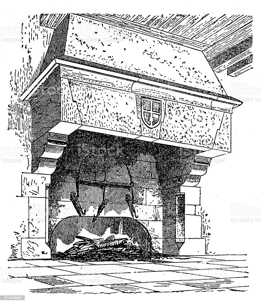 Fireplace from XIII century vector art illustration