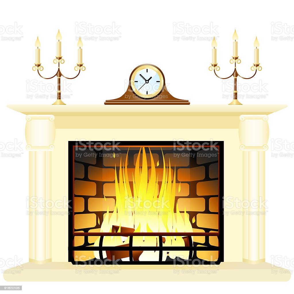 Fireplace royalty-free stock vector art