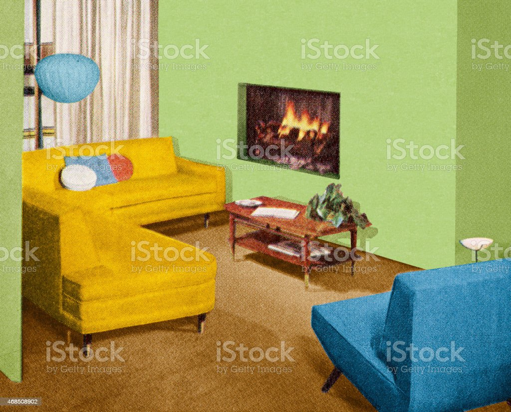 Fireplace in Living Room vector art illustration