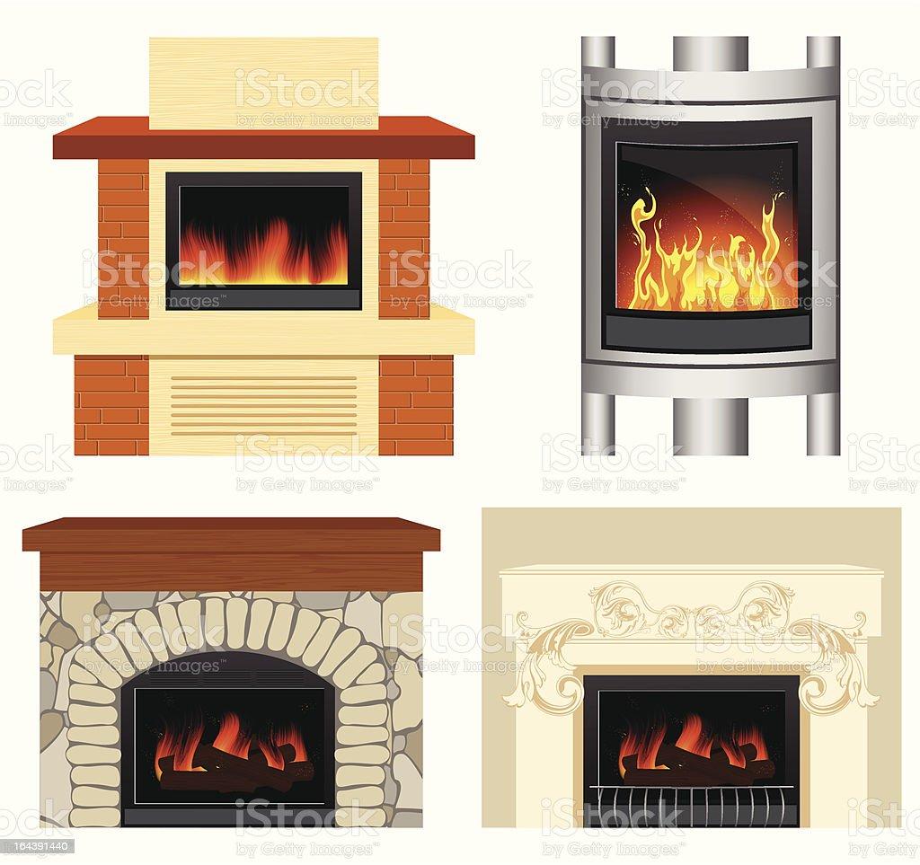 Fireplace set royalty-free stock vector art