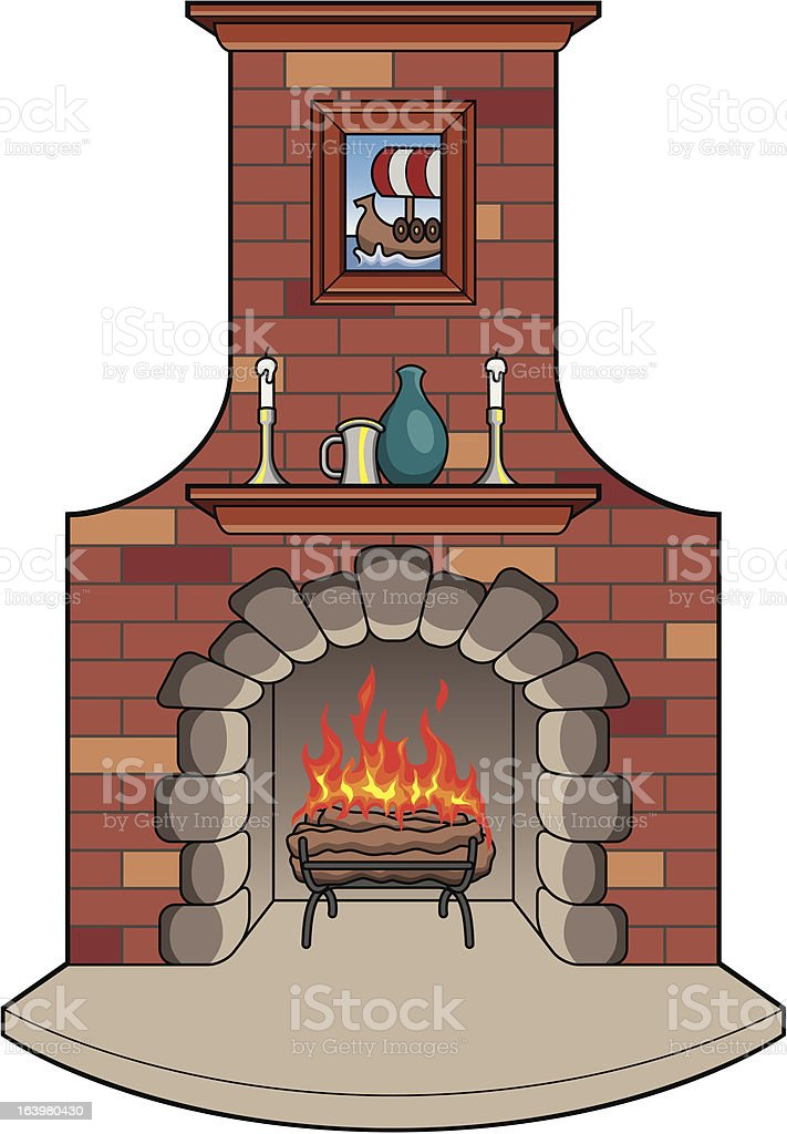 Fireplace with Fire royalty-free stock vector art