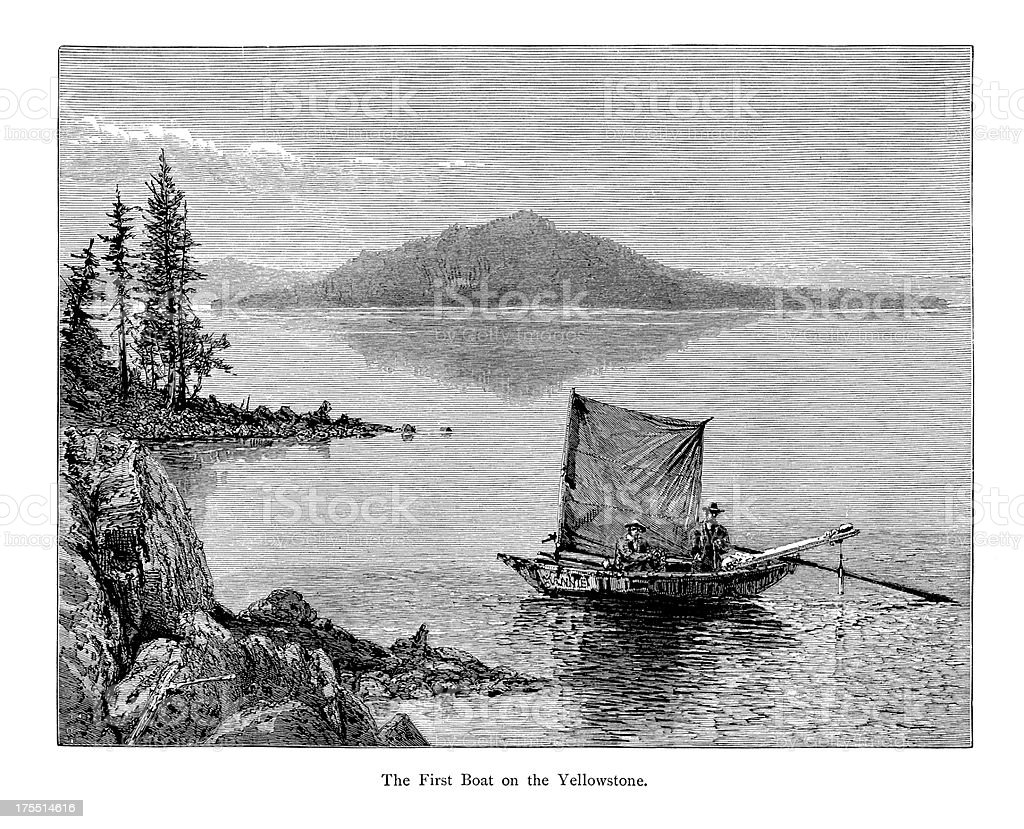 First Boat on Yellowstone Lake, USA | Historic American Illustrations royalty-free stock vector art