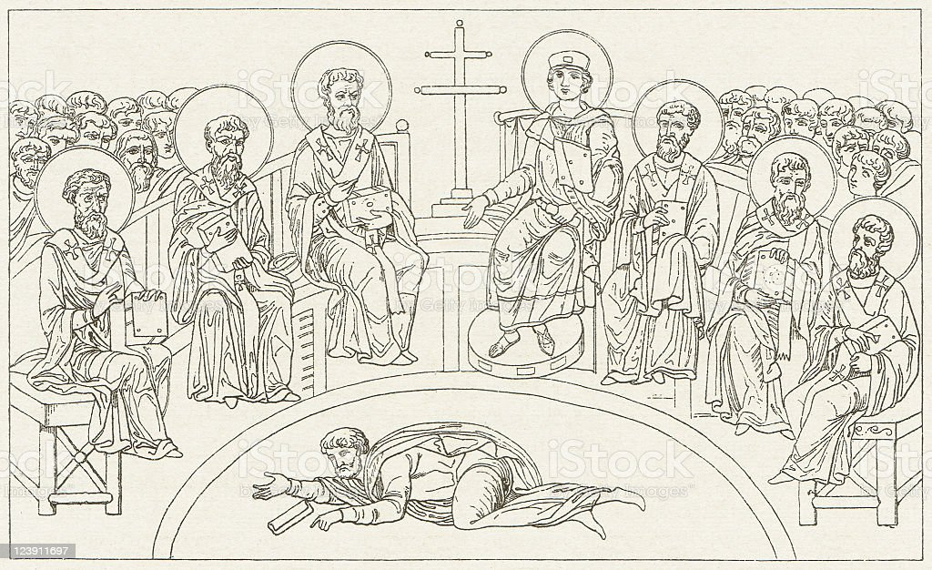 First Council of Nicaea, 325, wood engraving, published in 1881 vector art illustration