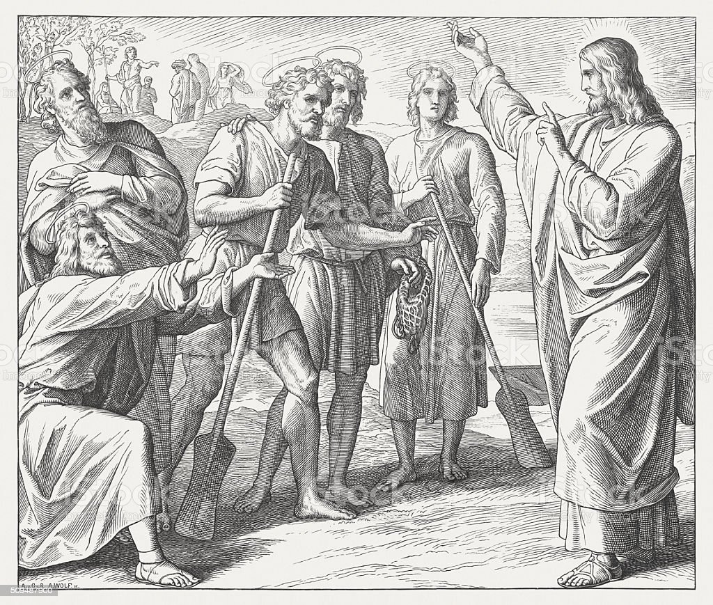 First disciples of Jesus, wood engraving, published in 1860 vector art illustration