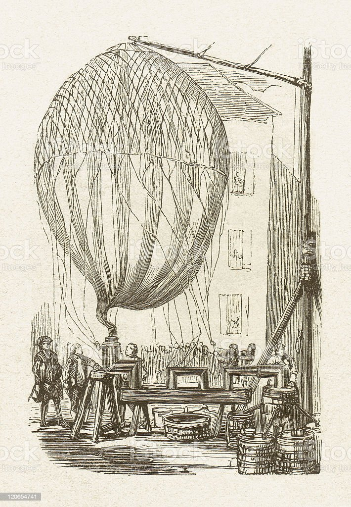 First hydrogen balloon by Jacques Alexandre César Charles, published 1877 vector art illustration